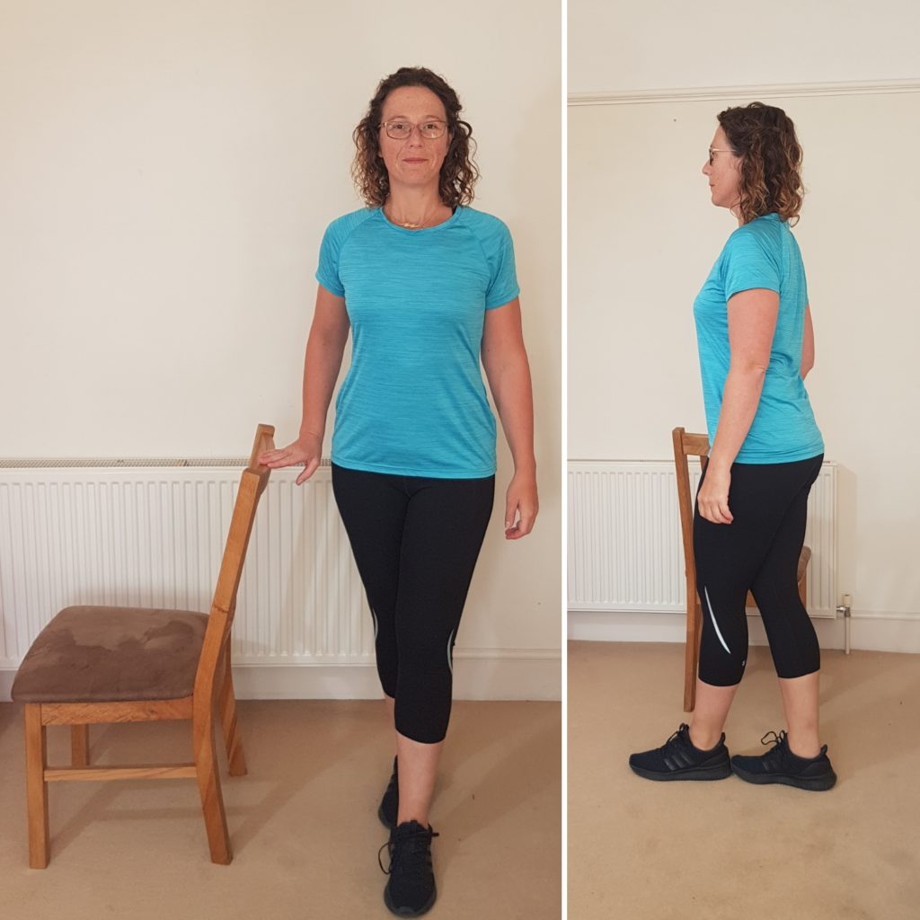Lady in tandem stance, one foot in front of the other. A falls prevention exercise that can be practiced in the home.